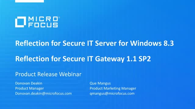 Reflection for Secure IT Server for Windows and Gateway