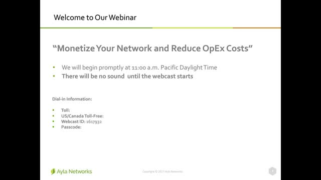 Monetize your Network and Reduce OpEx with Ayla