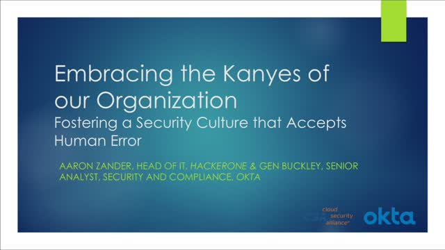Embracing the Kanyes: Fostering a Security Culture that Accepts Human Error