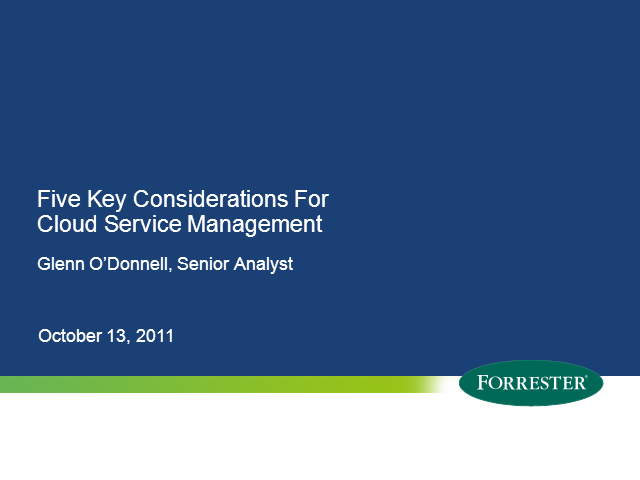 Five Key Considerations for Cloud Service Management