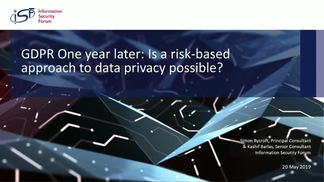 GDPR One year later: Is a Risk-Based Approach to Data Privacy possible?