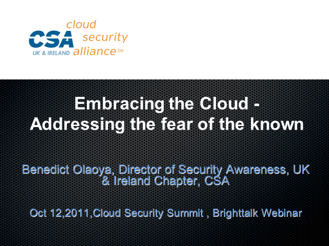Embracing the Cloud - Addressing the Fear of the Known
