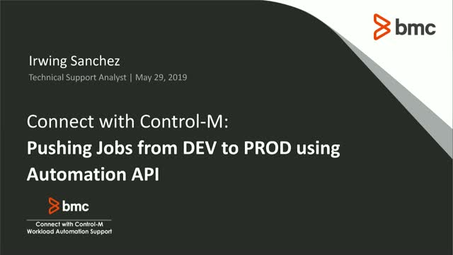 Connect with Control-M: Pushing Jobs from DEV to PROD using Automation API