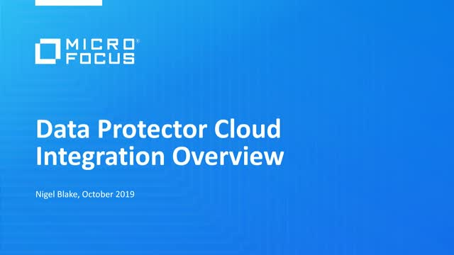 Micro Focus Data Protector Cloud Integration