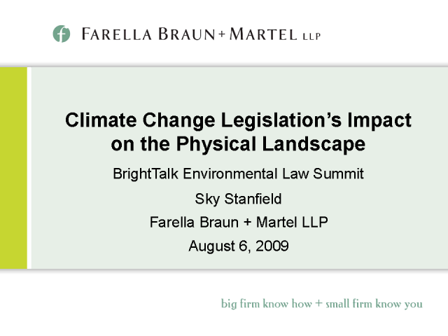 Climate Change Legislation's Impact on Physical Landscape--MCLE
