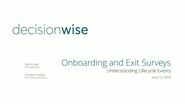 DecisionWise Onboarding and Exit Surveys