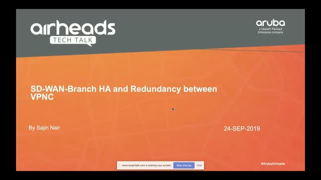 Airheads Tech Talks: SD-WAN-Branch HA and Redundancy between VPNC