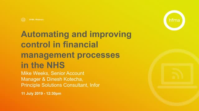 Automating and Improving Control in Financial Management Processes in the NHS