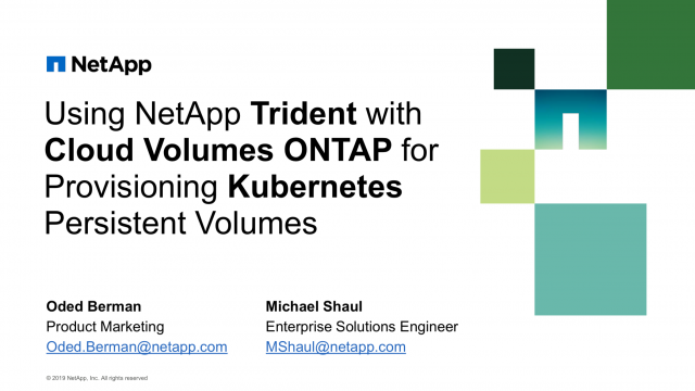 Using NetApp Trident with Cloud Volumes ONTAP for Provisioning Kubernetes