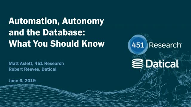 Automation, Autonomy and the Database: What You Should Know
