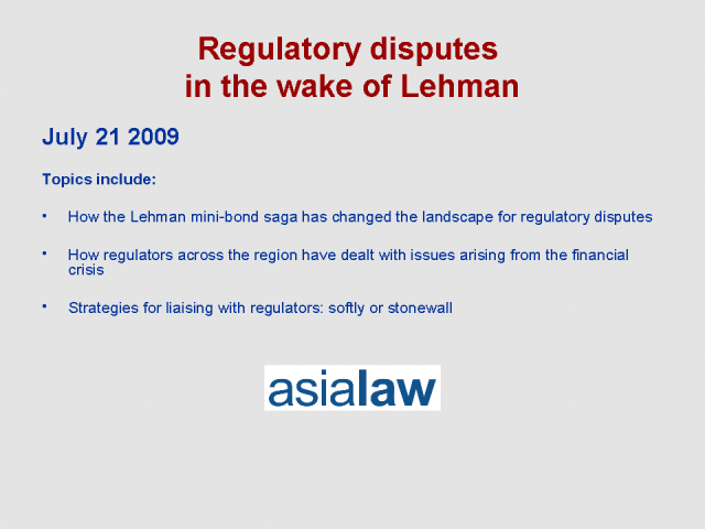 Regulatory disputes in the wake of Lehman