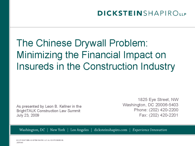 Chinese Drywall - How to avoid the litigation nightmare