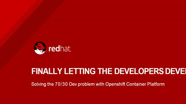 Finally letting Developers Develop - solving the 70/30 dev problem with OCP
