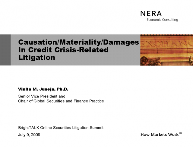 Causation/Materiality/Damages in Credit Crisis Related Litigation