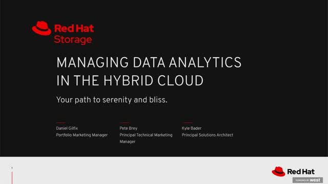 Managing data analytics in a hybrid cloud