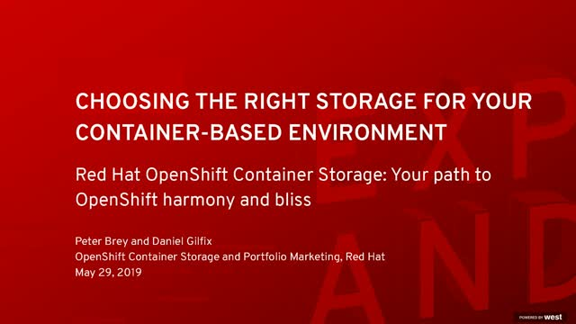 Red Hat OpenShift Container Storage - your path to OpenShift harmony and bliss