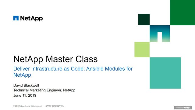 Deliver Infrastructure as Code: Ansible Modules for NetApp