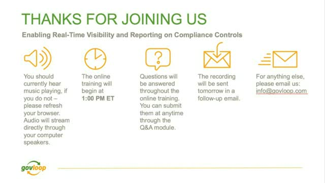 Enabling Real-Time Visibility and Reporting on Compliance Controls