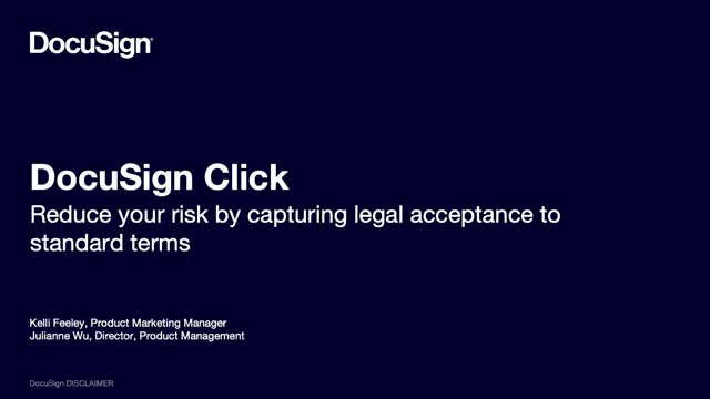DocuSign Click: Reduce your risk by capturing legal acceptance to standard terms