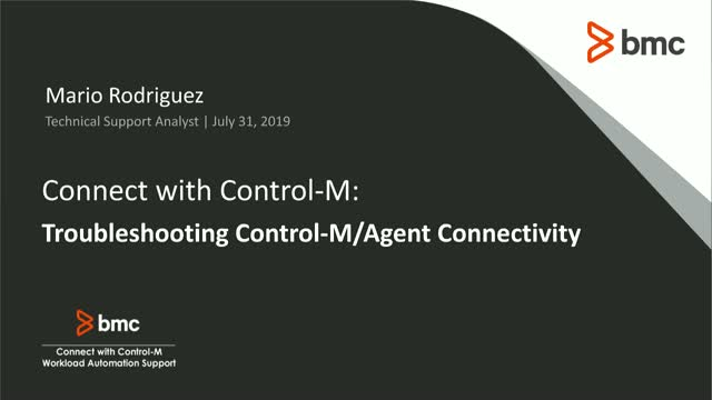 Connect With Control-M: Troubleshooting Control-M/Agent Connectivity