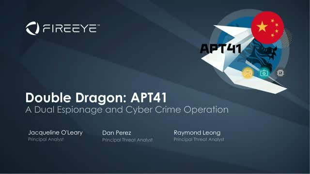 Double Dragon: APT41, a Dual Espionage and Cyber Crime Operation