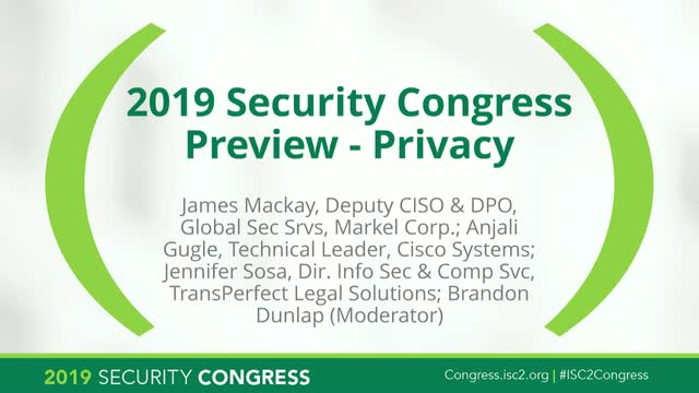 2019 Security Congress Preview - Privacy