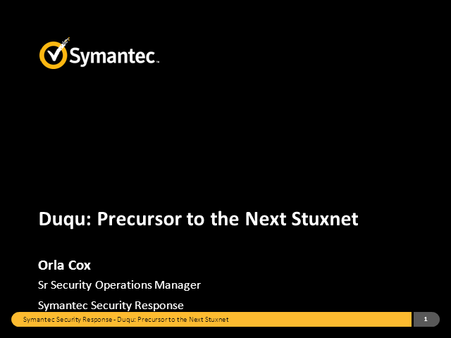 Duqu – the Precursor to the Next Stuxnet