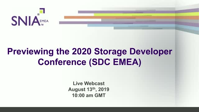 Previewing the Storage Developer Conference EMEA in 2020