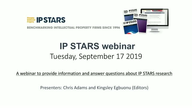 Managing Intellectual Property IP STARS 2020 webinar
