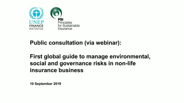 Public Consultation: First Global Guide to ESG Risks In Non-Life Insurance (PM)