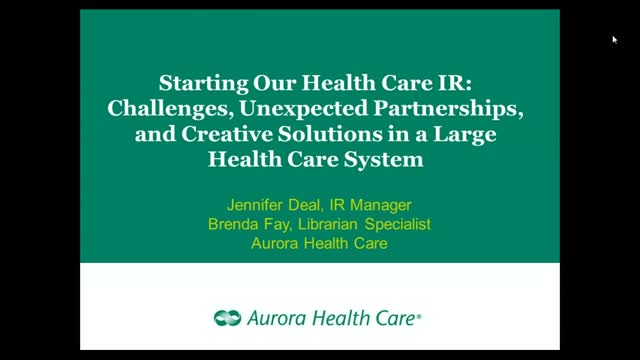 Starting Healthcare IR: Challenges, Unexpected Partnerships, Creative Solutions
