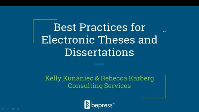 Best Practices for Managing Electronic Theses & Dissertations