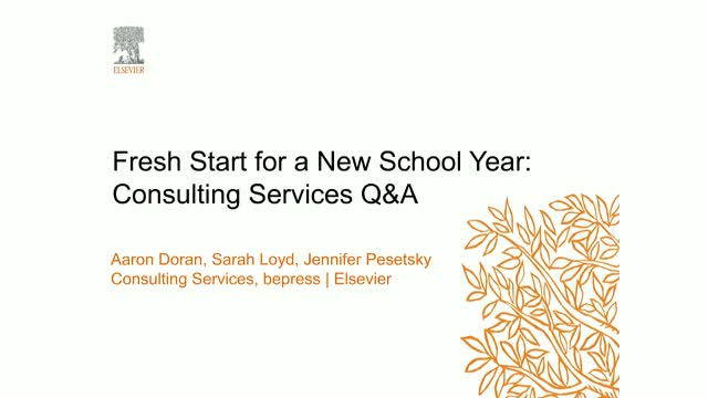 Replay: Fresh Start for a New School Year: Consulting Services Q&A
