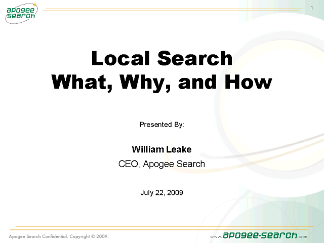 Local Search Engine Optimization - So What?