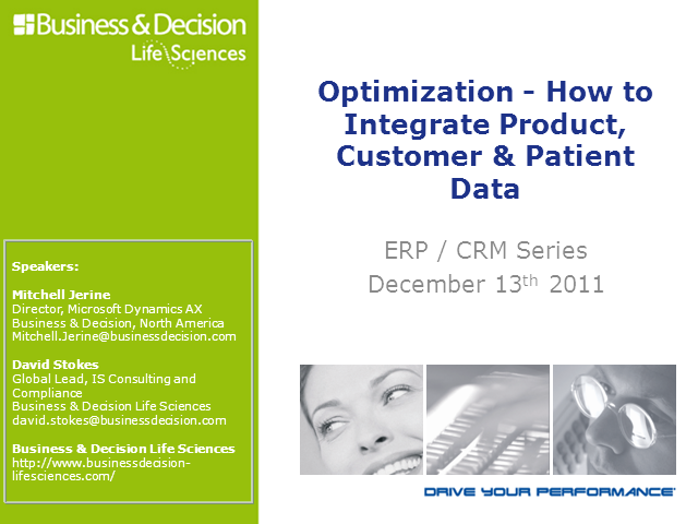 Life Sciences 2: Optimization- How to Integrate Product, Customer & Patient Data