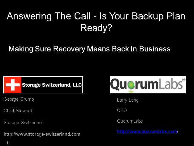 Will your Backup Plan Answer the Recovery Call?
