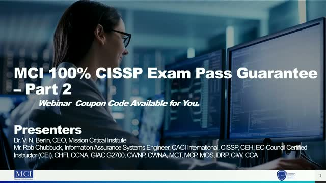 MCI 100% CISSP Exam Pass Guarantee – Part 2