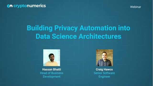 Building Privacy Automation into Data Science Architectures
