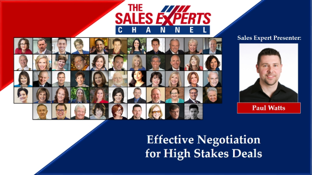 Effective Negotiation for High Stakes Deals