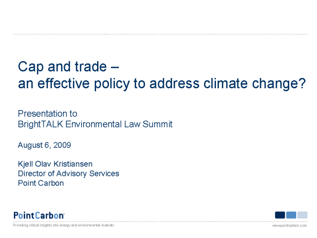 Cap and trade - an effective policy to address climate change?