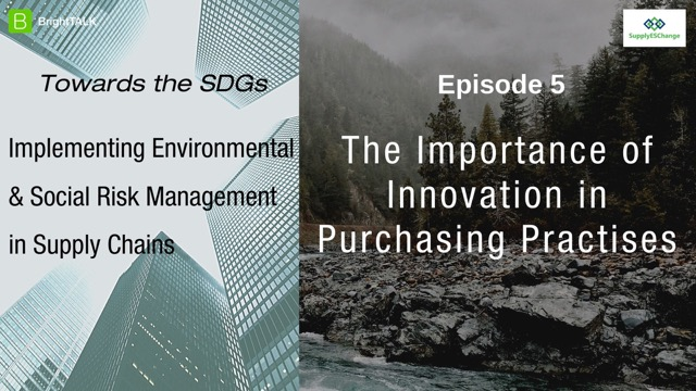 Towards the SDGs: The importance of Innovation in Purchasing Practises