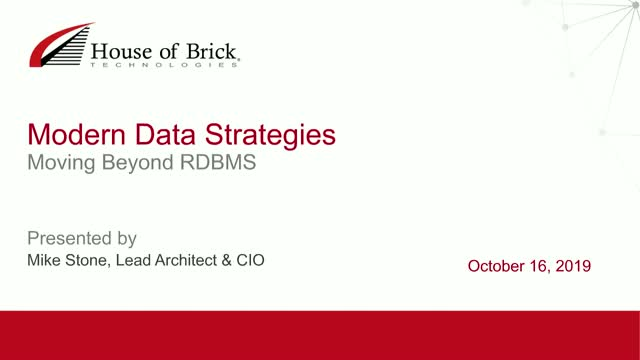 Modern Data Strategies – Moving Beyond RDBMS
