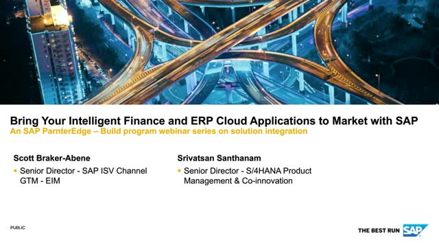 Bring Your Intelligent Finance and ERP Cloud Applications to Market with SAP
