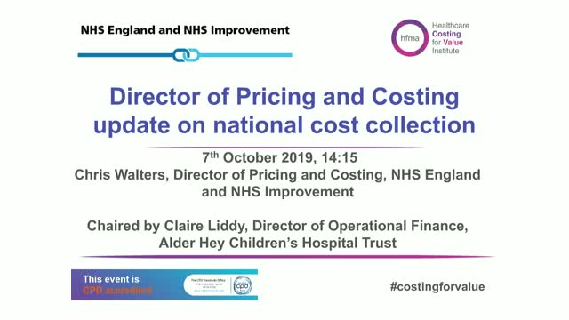 Director of Pricing and Costing update on national cost collection