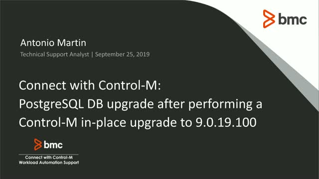 Connect With Control-M: Upgrading PostgreSQL DB After Control-M In-Place Upgrade