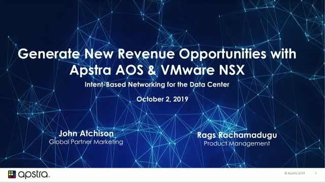 Partners Generate New Revenue Opportunities with Apstra AOS and VMware NSX