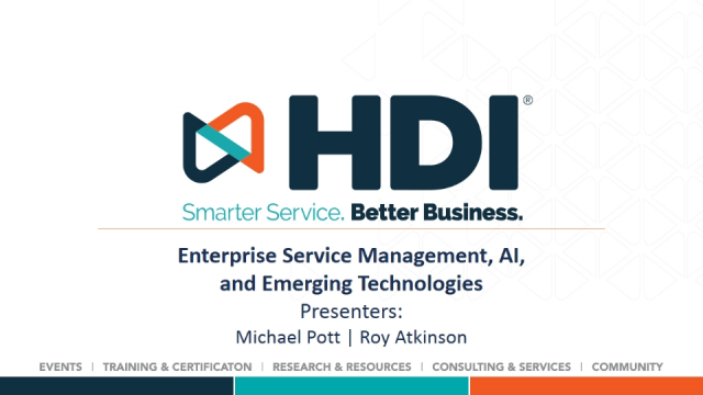 Enterprise Service Management, AI, and Emerging Technologies