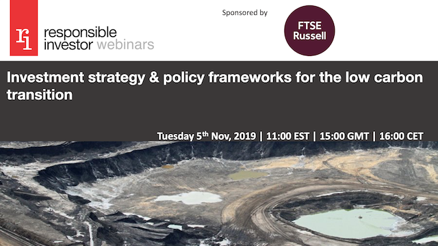 Investment strategy & policy frameworks for the low carbon transition