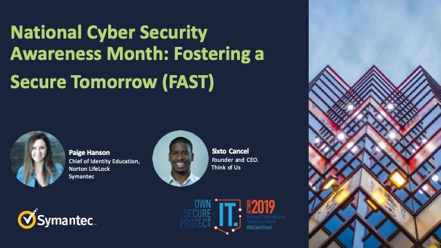 National Cyber Security Awareness Month: Fostering a Secure Tomorrow (FAST)