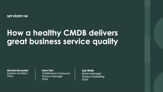 How a Healthy CMDB helps you deliver great service quality